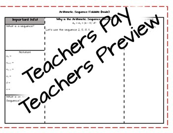 Arithmetic Sequence Foldable/Notes