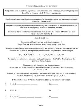 Arithmetic Sequence (Recursive Definition)