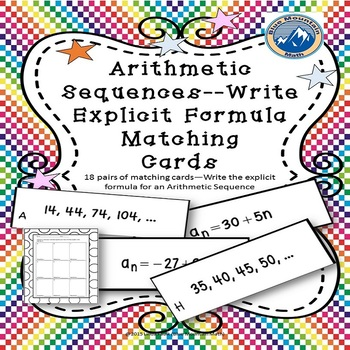 Arithmetic Sequence--Writing an Explicit Fromula Matching Card Set