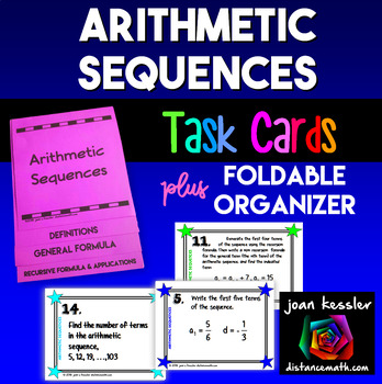 Arithmetic Sequences Task Cards and Foldable Organizer