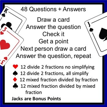 Dividing Fractions  {48 Questions Game}  EDITABLE  6.NS.A.1 {Mixed Numbers also}