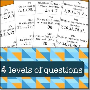 Arithmetic Sequences (Algebra: TEAM CHALLENGE task cards)