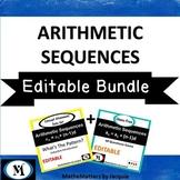 EDITABLE Arithmetic Sequences {BUNDLE}  48 Questions Game & Concept Attainment