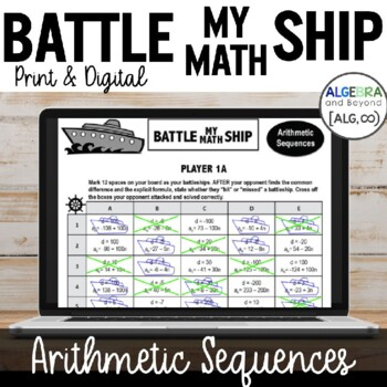 Arithmetic Sequences - Battle My Math Ship Activity