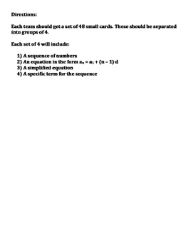 Arithmetic Sequences Card Matching Activity