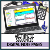 Arithmetic Sequences Digital Note Pages for Google Drive™