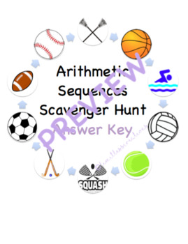 Arithmetic Sequences Lesson Plan, Notes, and Scavenger Hunt Activity