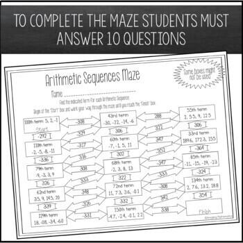 Arithmetic Sequences Maze