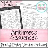 Arithmetic Sequences Worksheet - Maze Activity