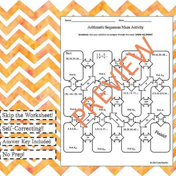 Arithmetic Sequences Maze Activity