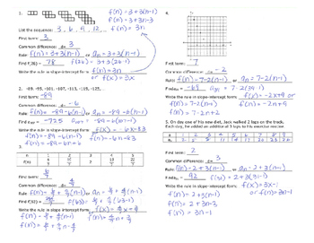 Arithmetic Sequences Notes - Explicit Rule