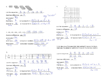 Arithmetic Sequences Notes - Introduction