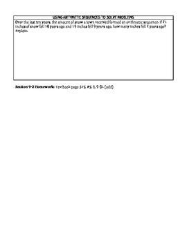 Arithmetic Sequences Notes/Graphic Organizer