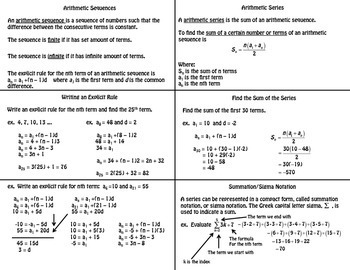 Arithmetic Sequences & Series Foldable