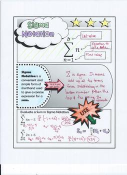Arithmetic Sequences & Series with Sigma Notation Packet Doodle Notes