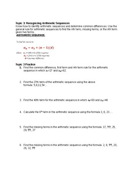 Arithmetic Sequences Study Guide