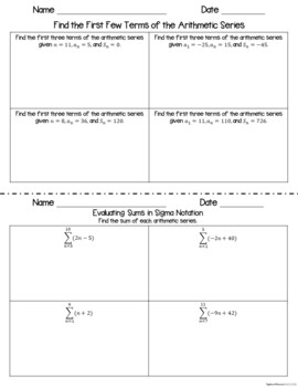 Arithmetic Sequences and Series - Scaffolded Notes & INB Activities