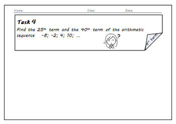 Arithmetic Sequences and Series - Task Cards