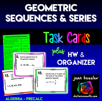 Geometric Sequences and Series Task Cards plus Organizer