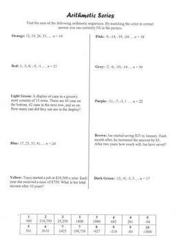 Arithmetic Series Coloring Practice