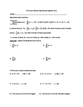 Arithmetic Series Guided Notes and Exploration