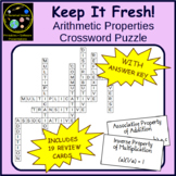 Arithmetic Properties and Equality Properties Crossword Puzzle with Review Cards
