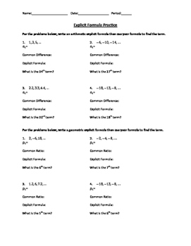 Arithmetic and Geometric Explicit Formula Practice Worksheet