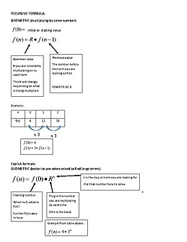 Arithmetic and Geometric Recursive and Explicit Formula Sheet