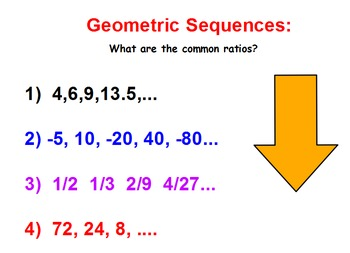 Arithmetic and Geometric Sequence Flipchart