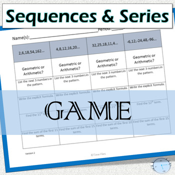 Arithmetic and Geometric Sequences and Series Games
