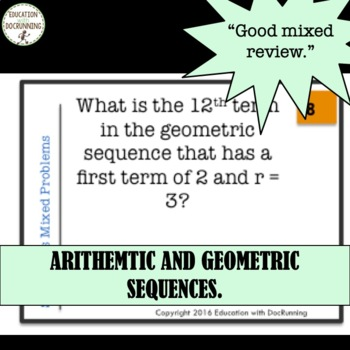 Arithmetic and Geometric Sequences Task Card Activity
