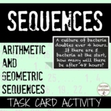 Arithmetic and Geometric Sequences Word Problem Task Card