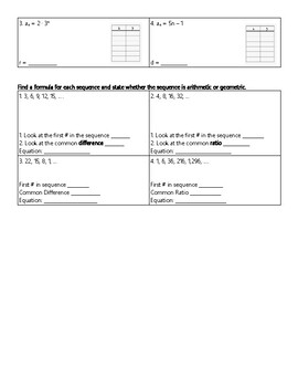 Arithmetic and Geometric Sequence Notes