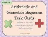 Arithmetic and Geometric Sequence Task Cards