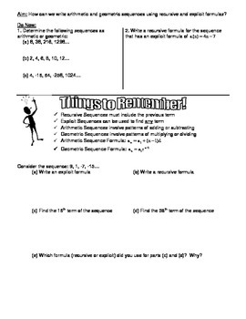 Arithmetic and Geometric Sequences Day 2 Worksheet