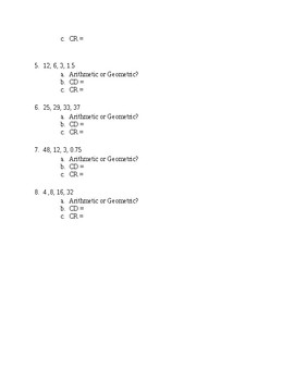 Arithmetic and Geometric Sequences Fill in the Blank