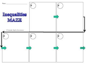Arithmetic and Geometric Sequences Fun Activity Maze Game Algebra