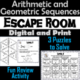 Arithmetic and Geometric Sequences Game: Algebra Escape Room Math