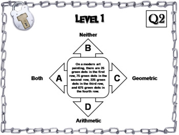 Arithmetic and Geometric Sequences Game: Algebra Escape Room Math