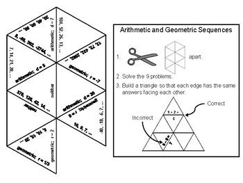 Arithmetic and Geometric Sequences Game: Math Tarsia Puzzle
