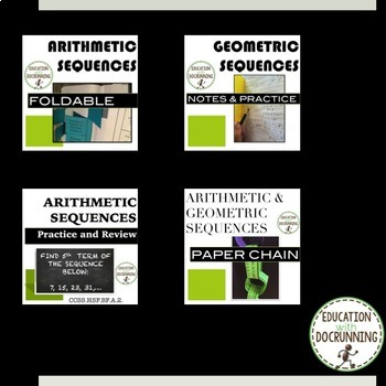 Arithmetic and Geometric Sequences Notes and Activities Resource Bundle