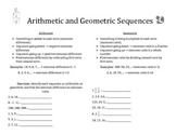 Arithmetic and Geometric Sequences Notes and Practice