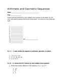 Arithmetic and Geometric Sequences Quiz