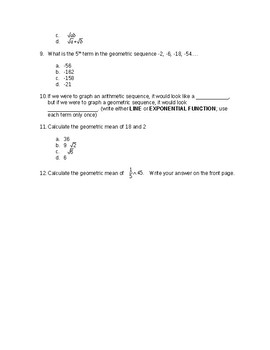 Arithmetic and Geometric Sequences Quiz