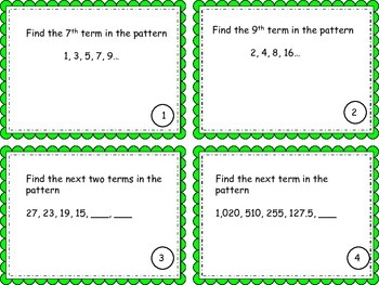 Arithmetic and Geometric Sequences Task Cards