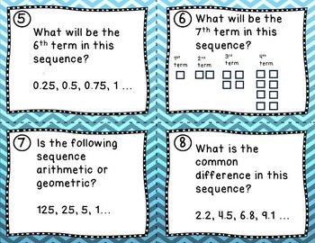 Arithmetic and Geometric Sequences- Task cards, powerpoint, and sort (SOL 6.17)