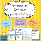 Arithmetic and Geometric Sequences- Task cards, powerpoint