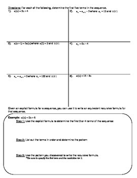 Arithmetic and Geometric Sequences Worksheet by Math by Catherine