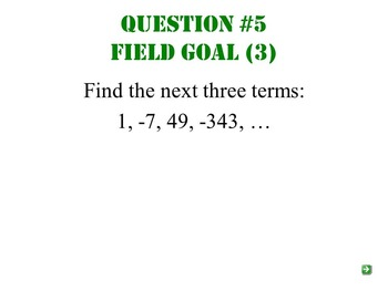 Arithmetic and Geometric Sequences and Series Football Review Game