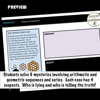 Arithmetic and Geometric Sequences and Series Whodunit Digital Activity